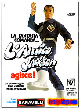 Action Jackson in Italy was advertised using Mego Bruce Wayne's head
